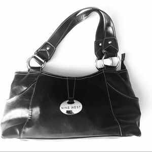 Nine West Black White Leather Bag Silver Hardware
